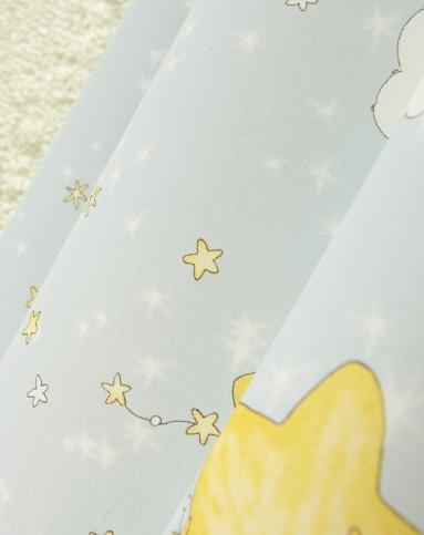 淡蓝色卡通梦幻星星月亮无纺布墙纸