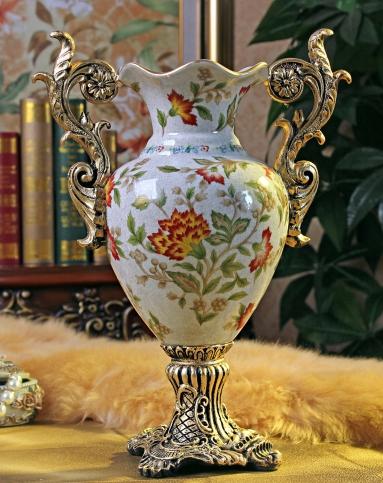 温莎系列复古裂纹陶瓷手绘花瓶