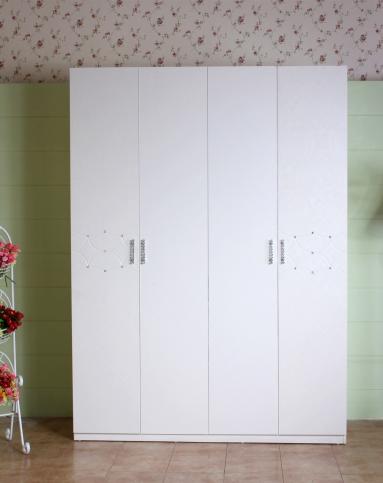 整体衣柜 韩式田园象牙白 四门衣柜